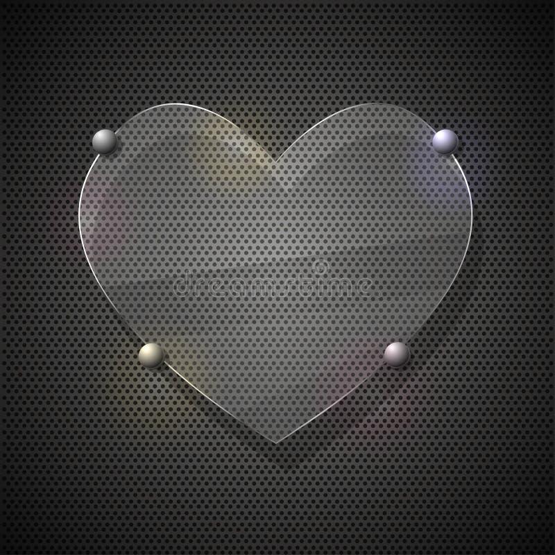 Coeur en verre sur la grille en métal. Illustration de vecteur illustration stock