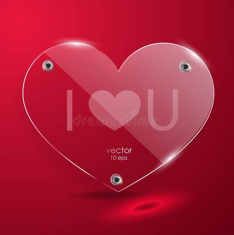 Coeur en verre sur un fond rouge illustration libre de droits