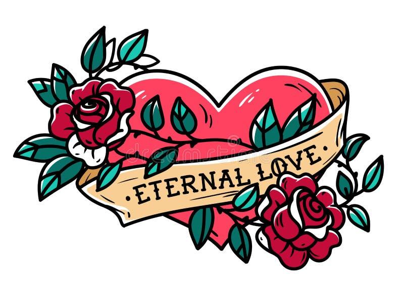Coeur enlacé dans le tatouage s'élevant de rose Coeur de tatouage avec le ruban et les roses Amour éternel Pour toujours amour illustration de vecteur