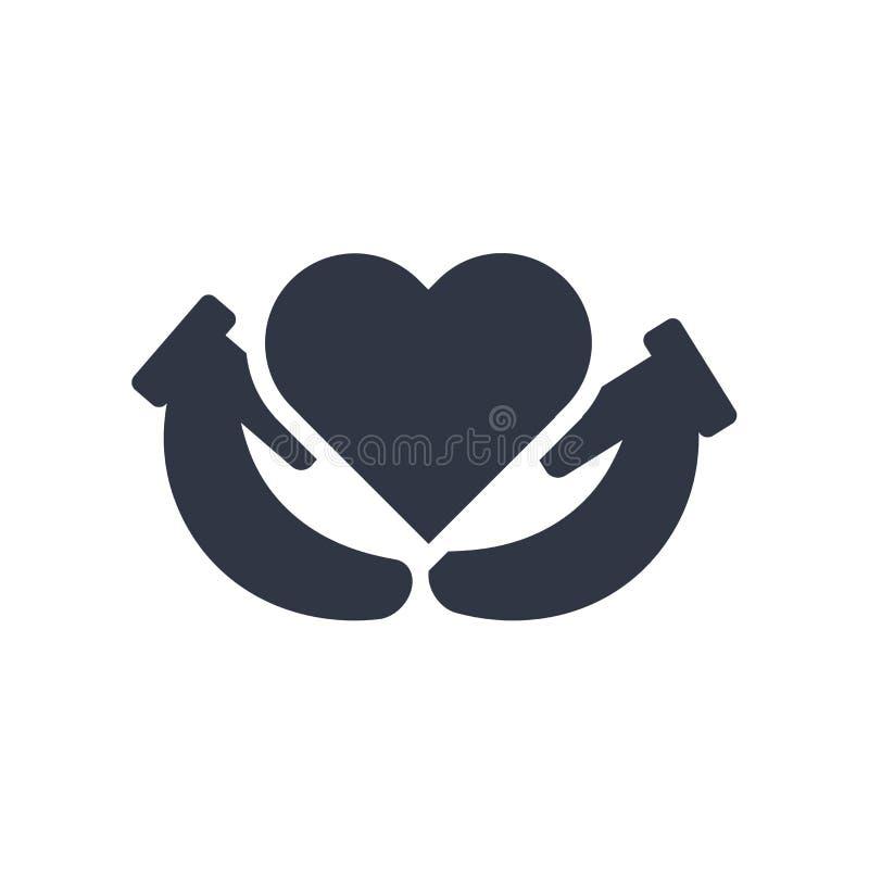 Coeur entre le signe de vecteur d'icône de mains et le symbole d'isolement sur le fond blanc, coeur entre le concept de logo de m illustration de vecteur