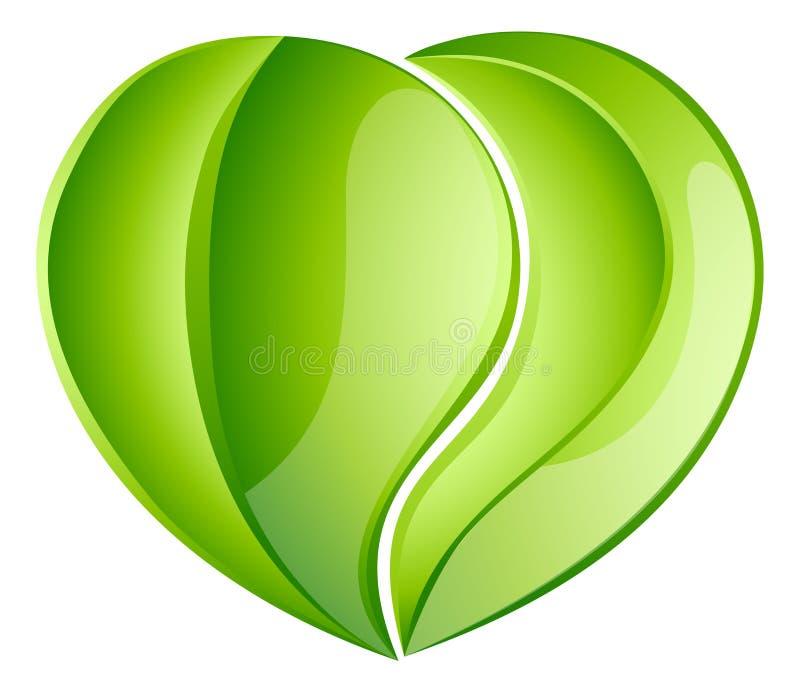Coeur environnemental de feuille d'amour de charité illustration de vecteur