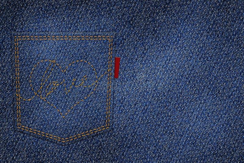 Coeur et amour de broderie avec le fil rouge sur la poche arrière illustration stock