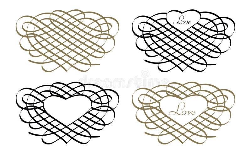 Coeur et amour - ornement et calligraphie, vecteur image stock