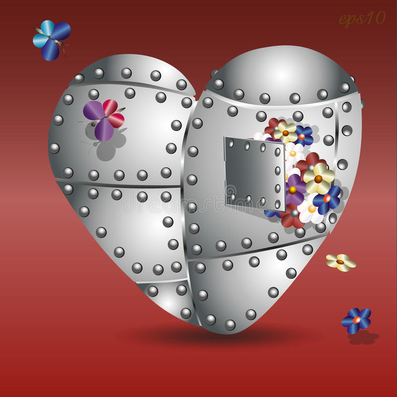 Coeur et bouquet de fer illustration libre de droits
