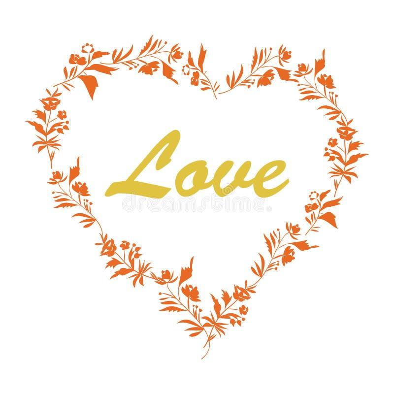 Coeur et brosse floraux ornementaux lumineux sur le fond blanc Type de cru illustration libre de droits
