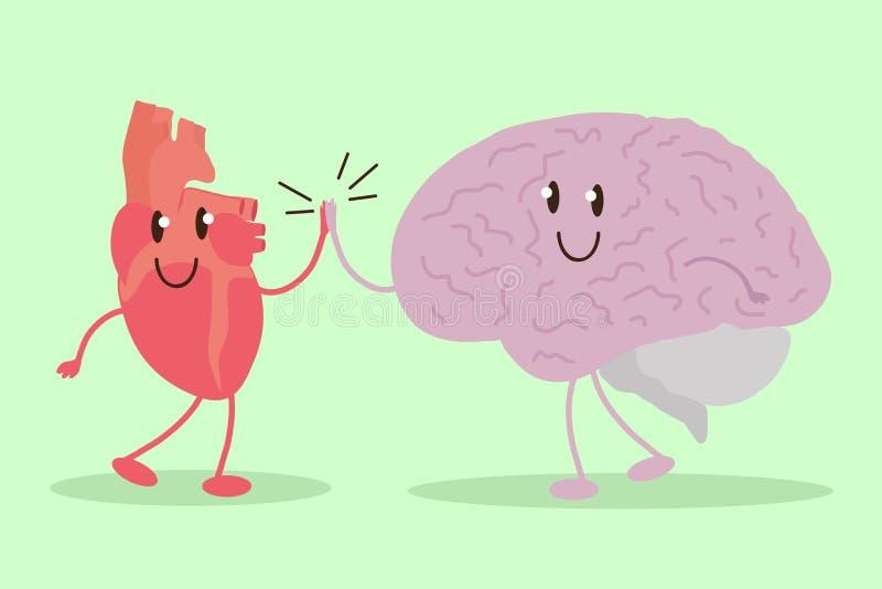 Coeur et cerveau en harmonie Semblez le fuselage humain intérieur illustration libre de droits