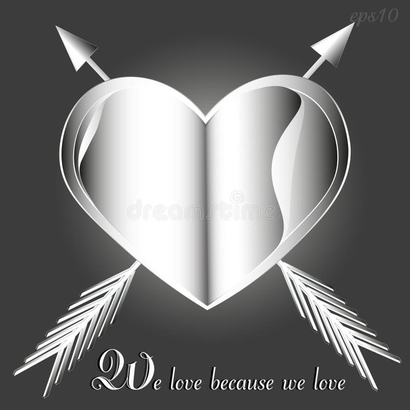 Coeur et flèche d'emblème de Valentine photo libre de droits