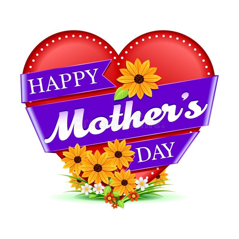 Coeur et fleurs heureux du jour de mère illustration de vecteur