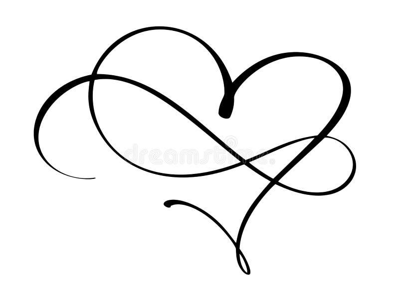 Coeur et infini de vintage pour des valentines et le jour du mariage illustration stock