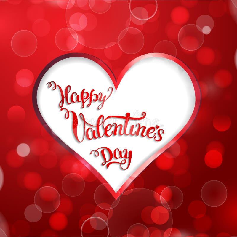 Coeur et main originale marquant avec des lettres la Saint-Valentin heureuse illustration de vecteur