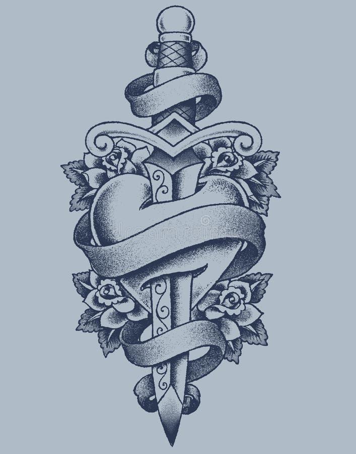 Coeur et poignard pointillés illustration de vecteur