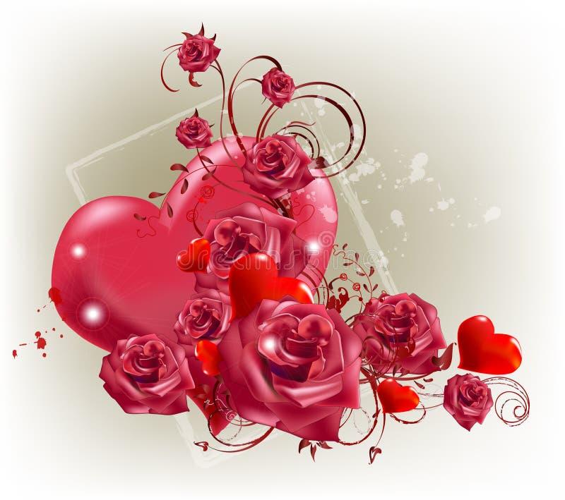 Coeur et roses illustration de vecteur