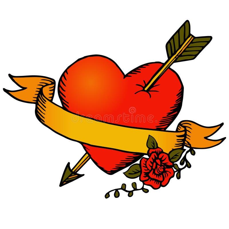 Coeur et ruban classiques de vecteur de tatouage illustration stock