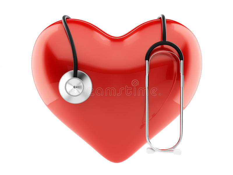 Coeur et stéthoscope rouges illustration libre de droits