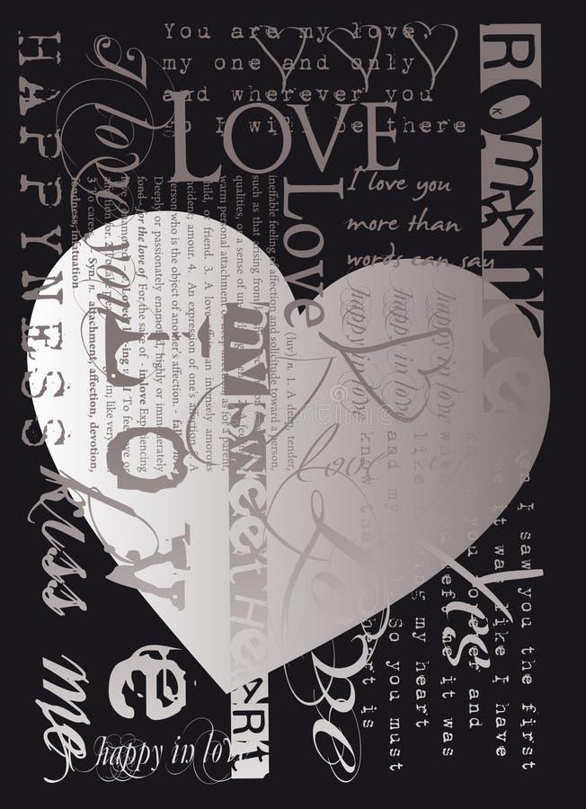 Coeur et texte illustration libre de droits