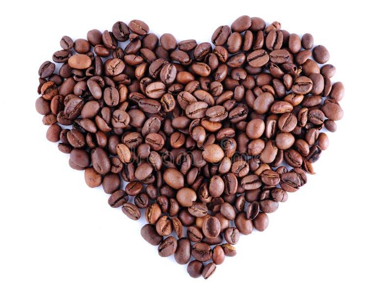 Coeur fabriqué à partir de des grains de café photographie stock