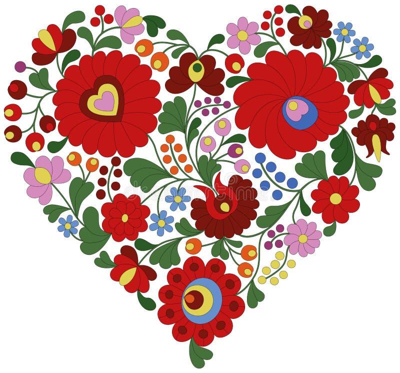 Coeur fait à partir du modèle hongrois traditionnel de broderie illustration libre de droits