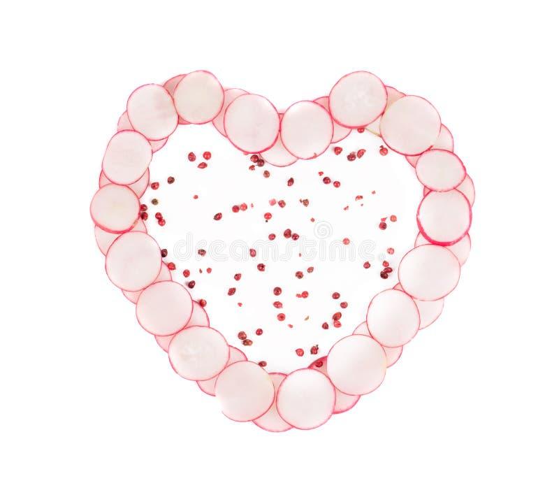 Coeur fait à partir du radis rouge photos libres de droits