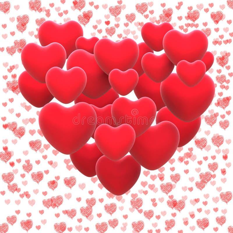 Coeur fait avec l'amant romantique d'expositions de coeurs ou illustration de vecteur