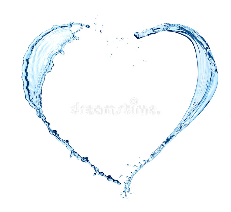 Coeur fait d'eau sur le blanc photographie stock