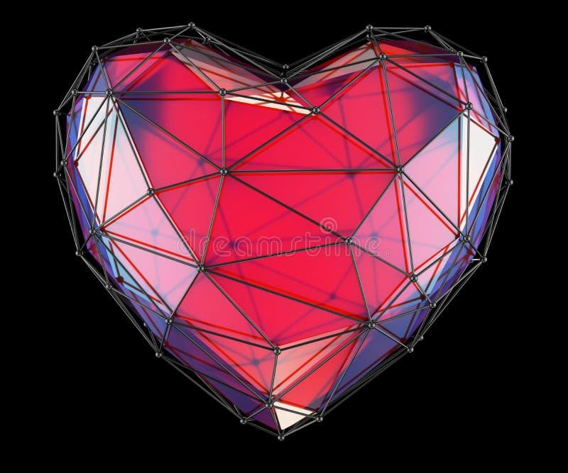 Coeur fait dans la couleur rouge de bas poly style d'isolement sur le fond noir 3d illustration de vecteur