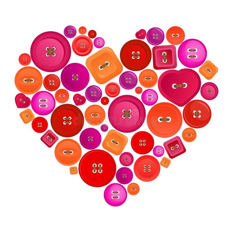 coeur fait de boutons colorés illustration de vecteur