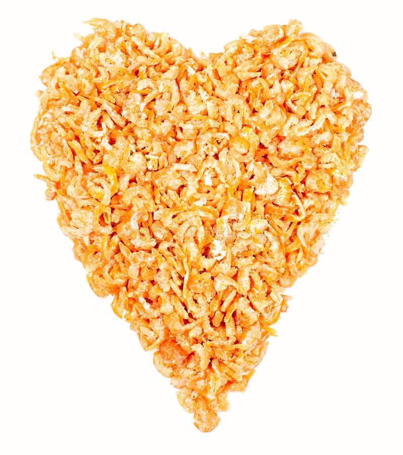 Coeur fait de crevettes photos libres de droits