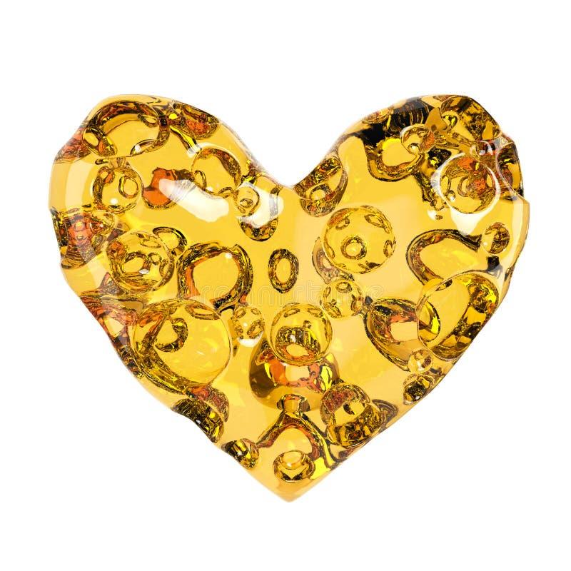Coeur fait de fromage avec des trous Rendu de haute qualité Amour de concept pour, jour de valentines, romance, passion, d'isolem illustration stock