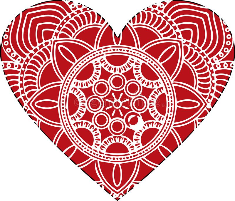 Coeur fleuri de vecteur dans le style victorien Élément élégant pour la conception de logo Illustration florale de dentelle pour  illustration stock