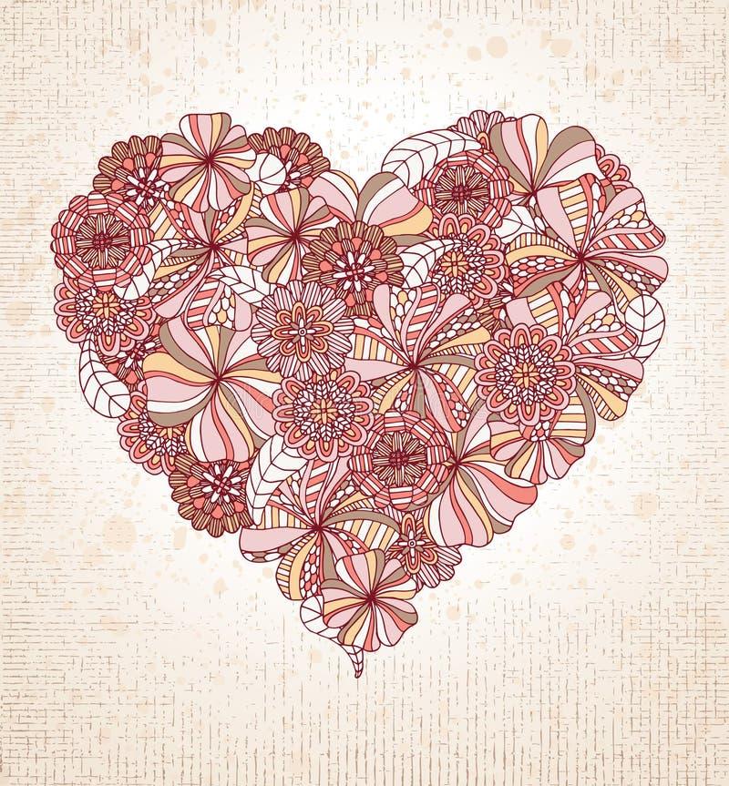 Coeur floral illustration de vecteur
