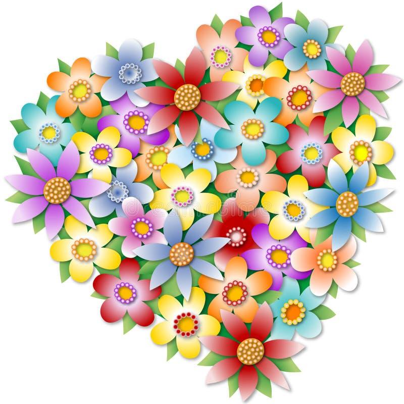 Coeur floral illustration stock