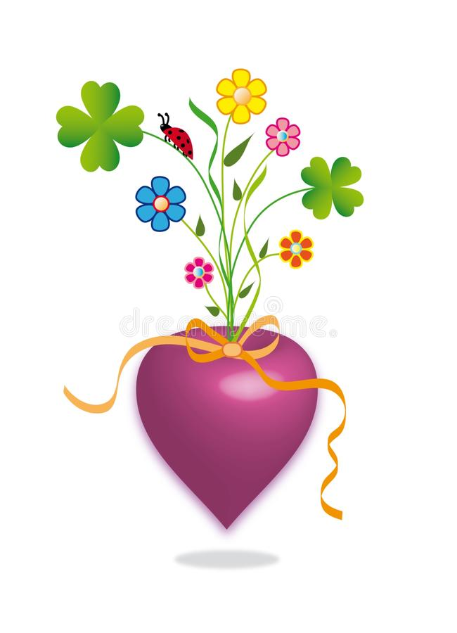 Coeur floral illustration libre de droits