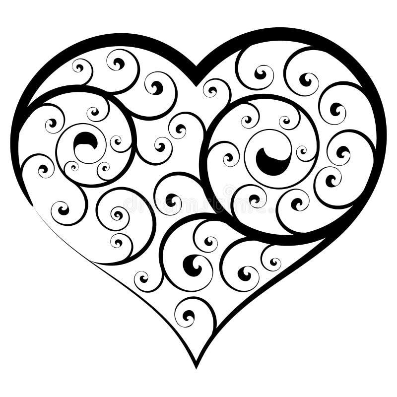 Coeur floral abstrait Élément noir et blanc de vecteur illustration stock