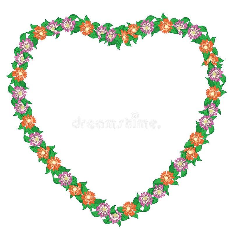 Coeur floral avec des fleurs - cadre illustration libre de droits