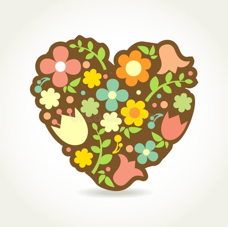 Coeur floral dans le type de cru. illustration stock