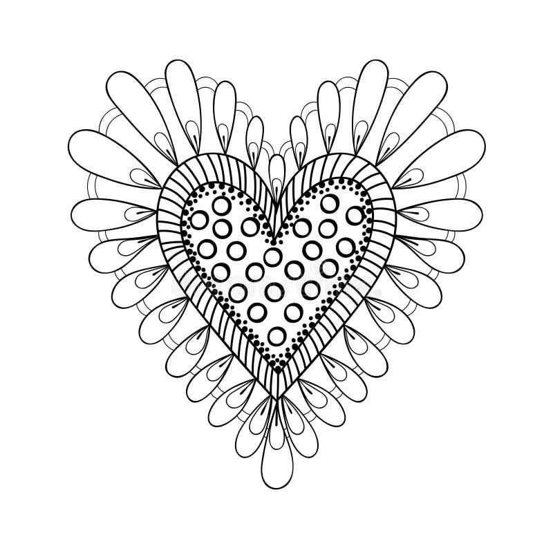 Coeur floral de griffonnages dans le style d'ornamental de zentangle Trame de vecteur illustration de vecteur