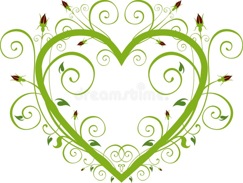Coeur floral de Rose illustration stock