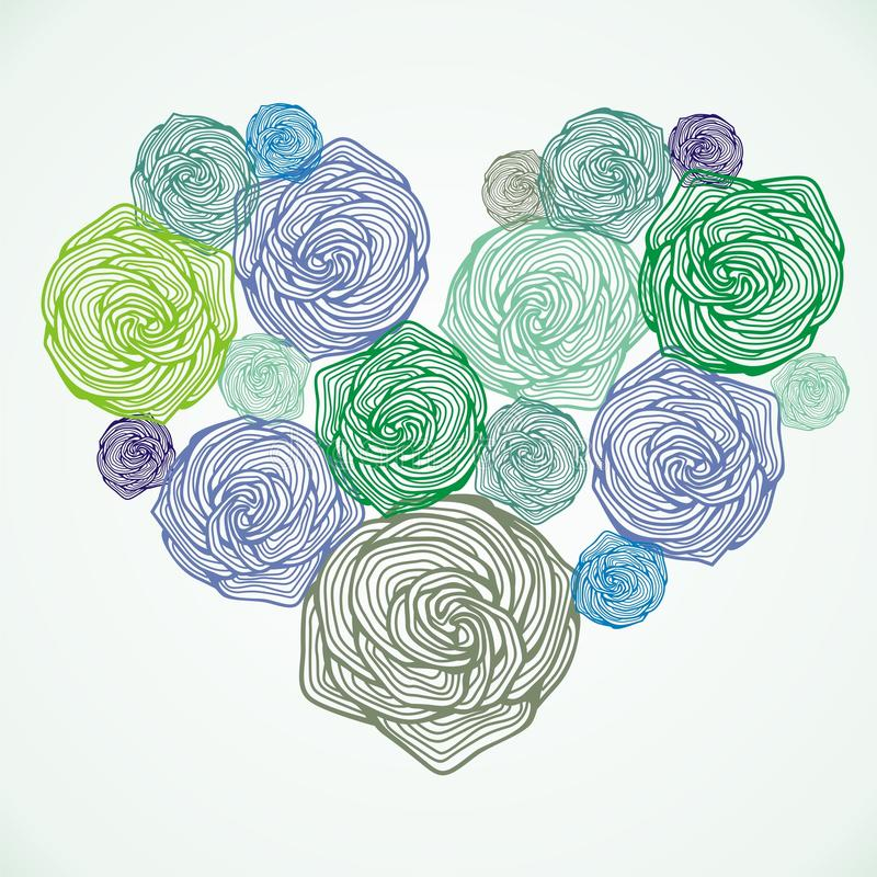 Coeur floral de vecteur illustration stock