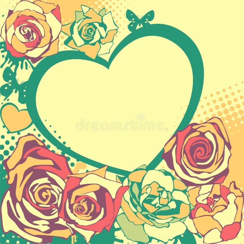 Coeur floral de vecteur pour le jour de valentines illustration stock