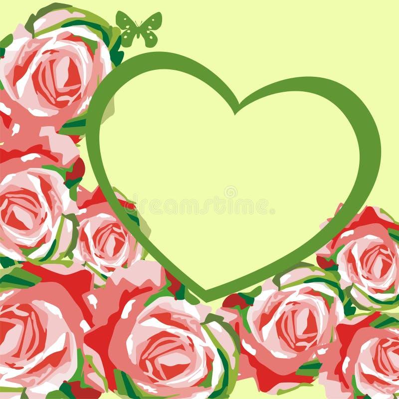Coeur floral de vecteur pour le jour de valentines illustration libre de droits