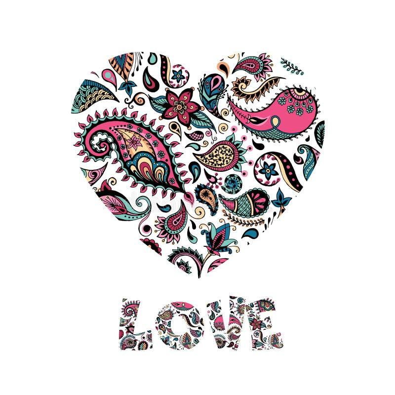 Coeur floral fait de fleurs Carte de jour de Valentines Illustration de vecteur illustration stock