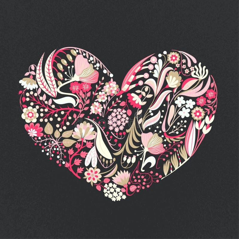Coeur floral Fleurs créatives tirées par la main roman Fond artistique coloré avec la fleur Herbe abstraite illustration stock