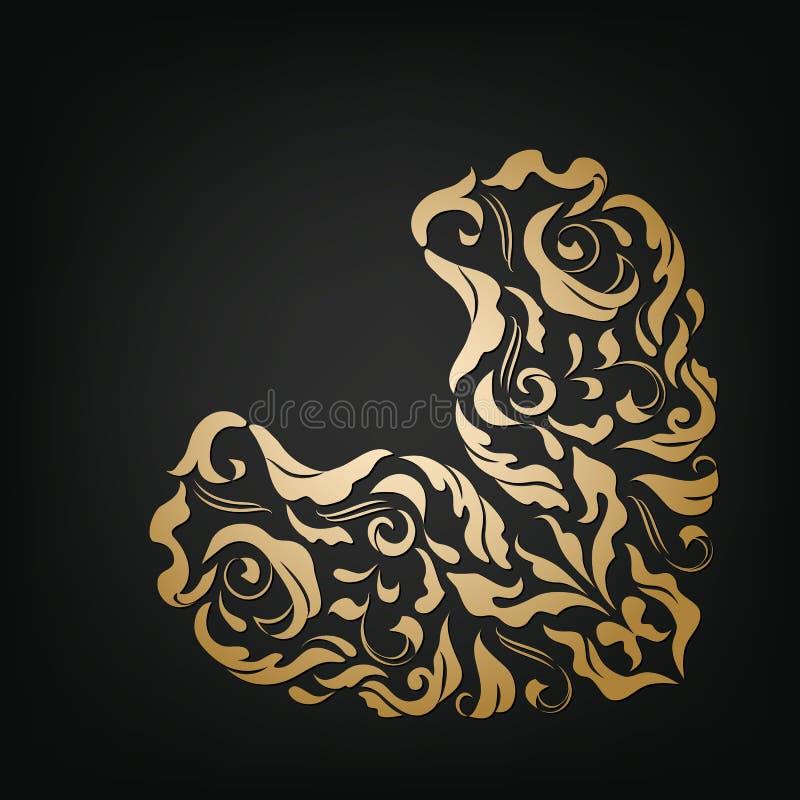 Coeur floral ornemental de vecteur Type de cru illustration de vecteur
