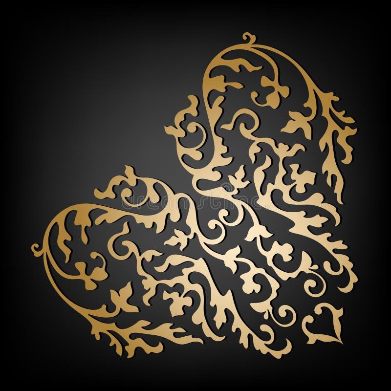Coeur floral ornemental de vecteur Type de cru illustration libre de droits