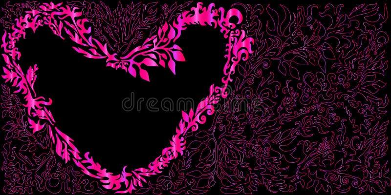 Coeur floral romantique d'amour, d'isolement illustration stock