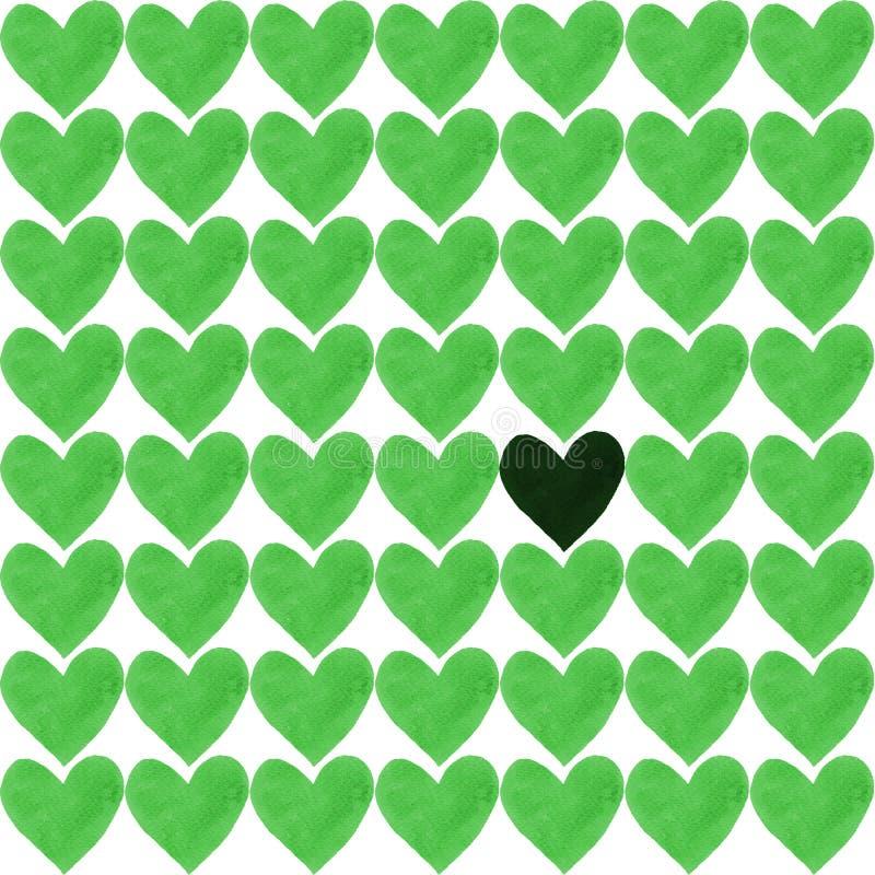 Coeur foncé avec une foule des coeurs verts illustration stock