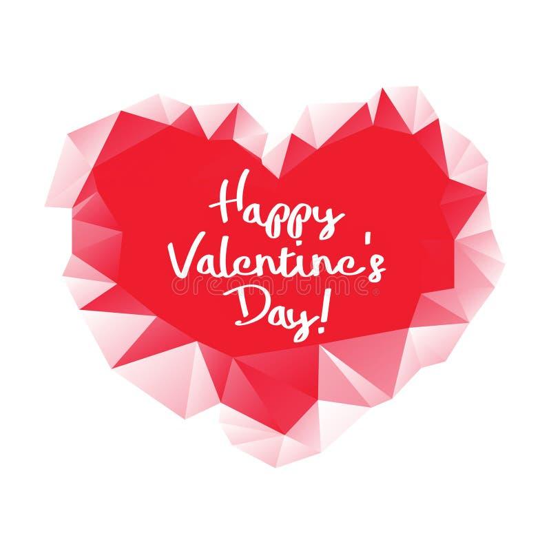 Coeur géométrique de triangle abstraite rouge sur le fond blanc Carte de voeux heureuse du jour de valentine images libres de droits