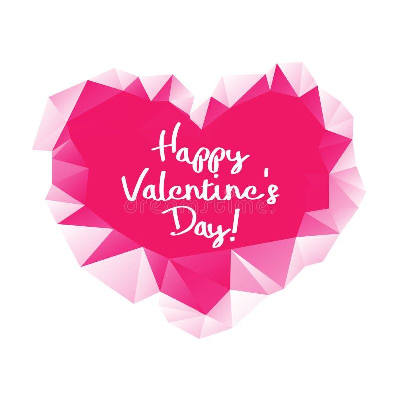 Coeur géométrique de triangle abstraite rouge sur le fond blanc Carte de voeux heureuse du jour de valentine photo libre de droits