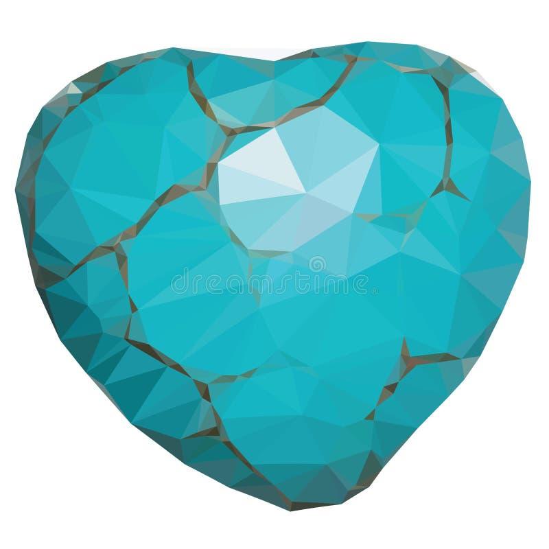 Coeur géométrique de turquoise illustration libre de droits
