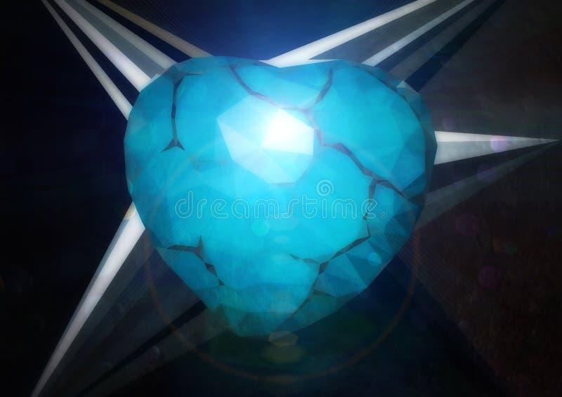 Coeur géométrique de turquoise texturisé illustration libre de droits